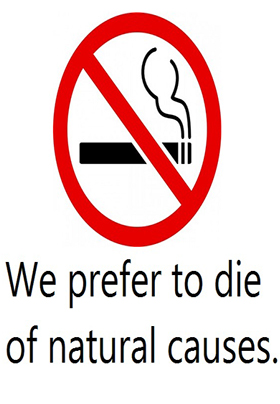 A red no smoking symbol indicating that smoking is not permitted on the premises