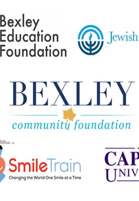 Many colorful logos of the various organizations to which Lesli and Mike donate funds