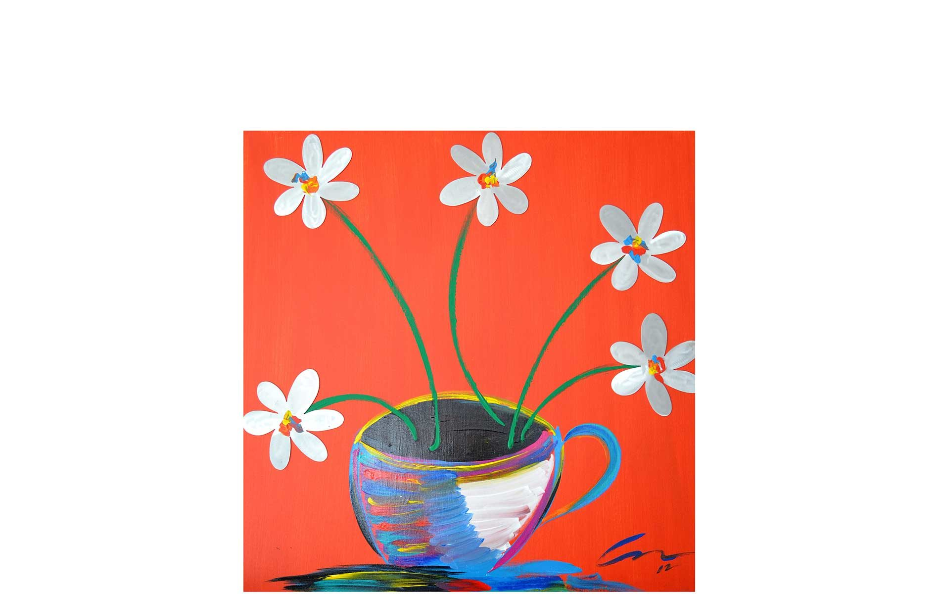 Image of a painting depicting a multiple colored mug holding white flowers with multi-colored centers on a background of red.