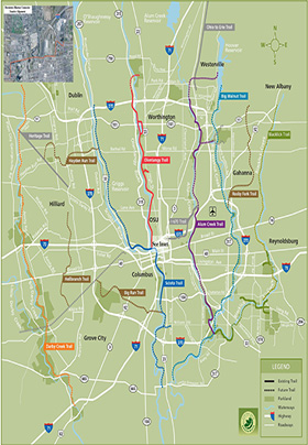 A color-coded map of various bike trails in the greater metropolitan area